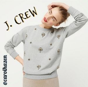 NEW J. Crew Crewneck Sweat Shirt Embellished